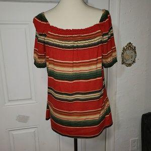 CHAPS Multicolor Striped Cotton Top L